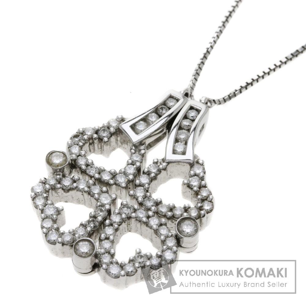 1ct ダイヤモンド ハート/クローバー ネックレス K18ホワイトゴールド 10.7g レディース 【中古】