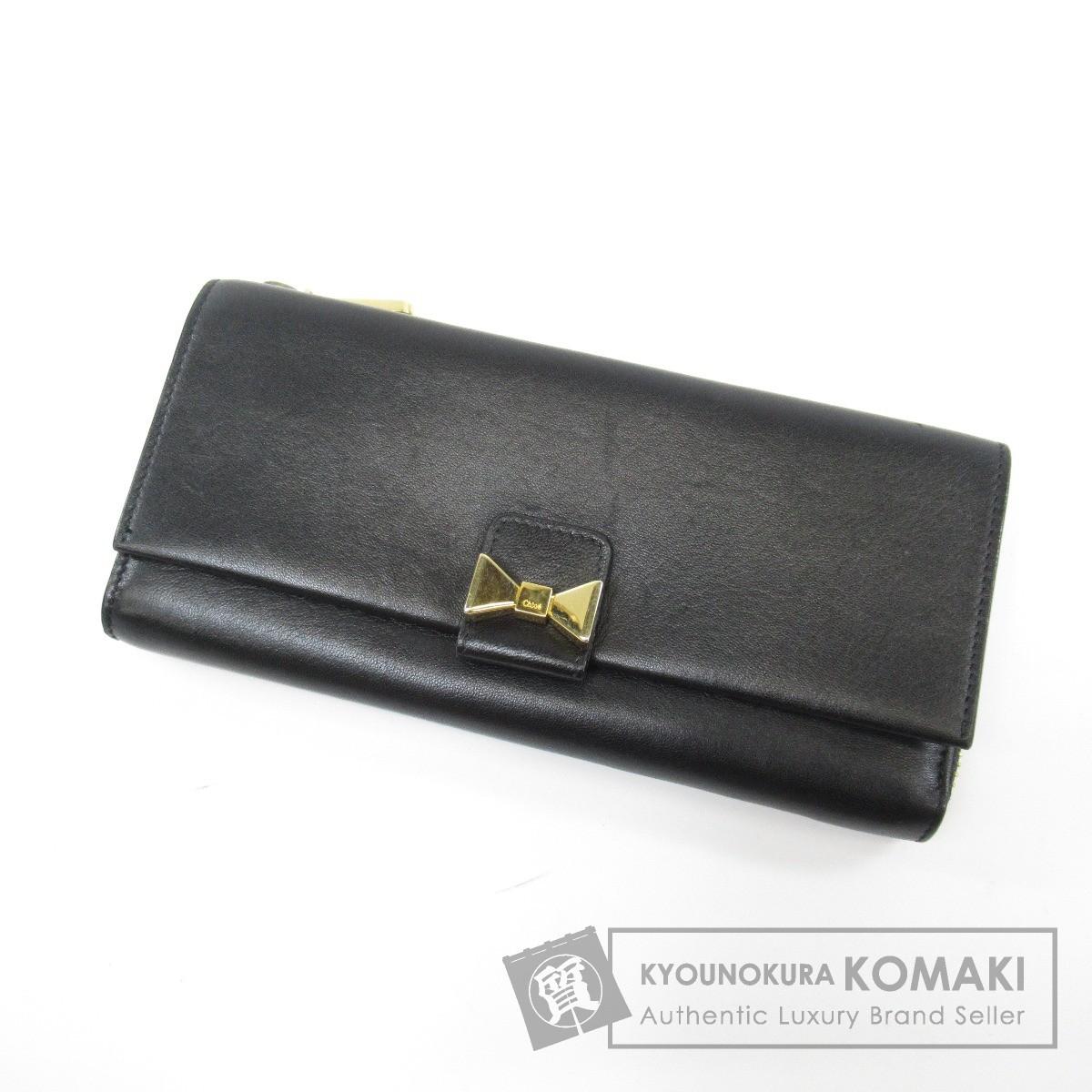 CHLOE リボンモチーフ 長財布(小銭入れあり) レザー レディース 【中古】【クロエ】