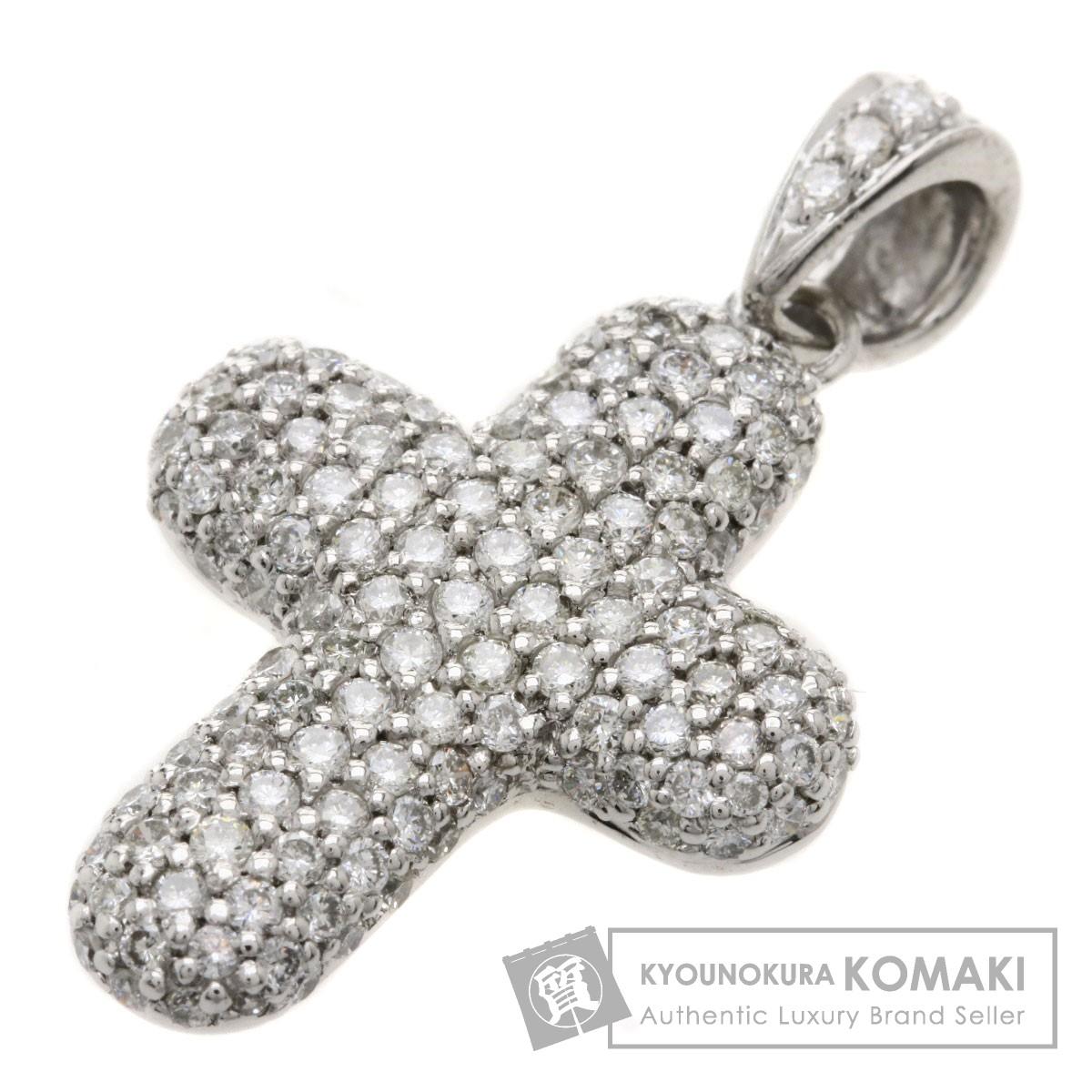 1.63ct ダイヤモンド/クロス ペンダント K18ホワイトゴールド 5.7g レディース 【中古】