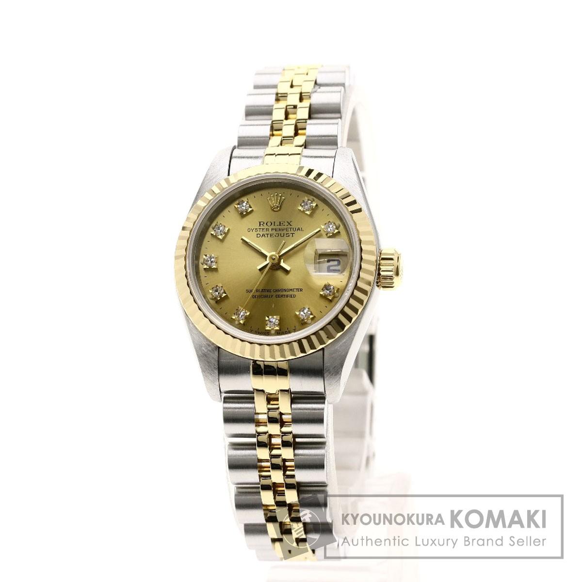 ROLEX 69173G デイトジャスト 10Pダイヤモンド 腕時計 OH済 ステンレススチール/K18YG レディース 【中古】【ロレックス】