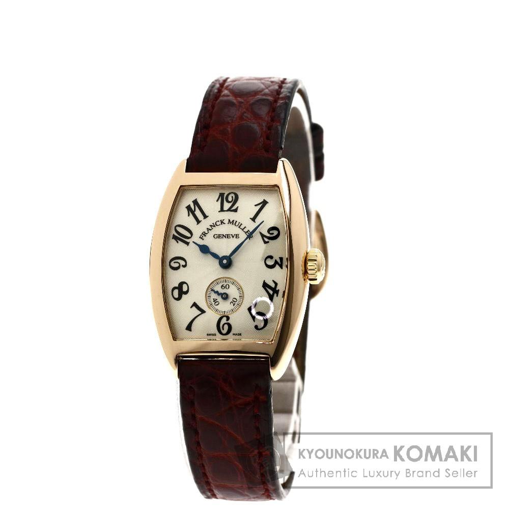 FRANCK MULLER 1750S6 トノウカーベックス 腕時計 OH済 K18ピンクゴールド/クロコダイル レディース 【中古】【フランクミュラー】