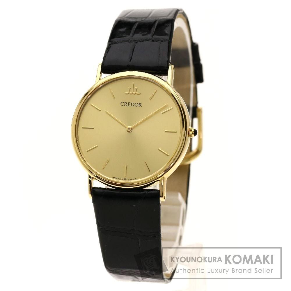 SEIKO 5A74-0140 クレドール 腕時計 K18イエローゴールド/革 メンズ 【中古】【セイコー】