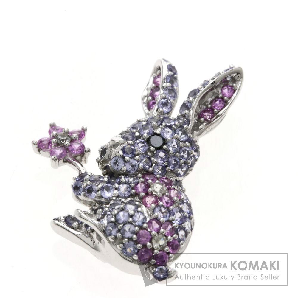 ウサギ タンザナイト/サファイア/ブラックダイヤモンド ペンダント K18ホワイトゴールド 4.6g レディース 【中古】
