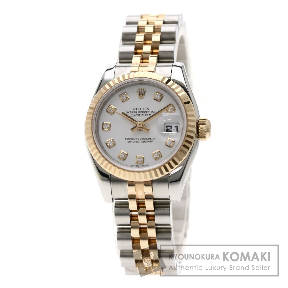 ROLEX 179171G デイトジャスト 10Pダイヤモンド コンビ 腕時計 ステンレススチール/SSxK18PG レディース 【中古】【ロレックス】