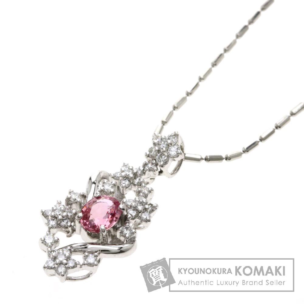 0.528ct ピンクサファイア/ダイヤモンド ネックレス プラチナPT900/PT850 5.9g レディース 【中古】