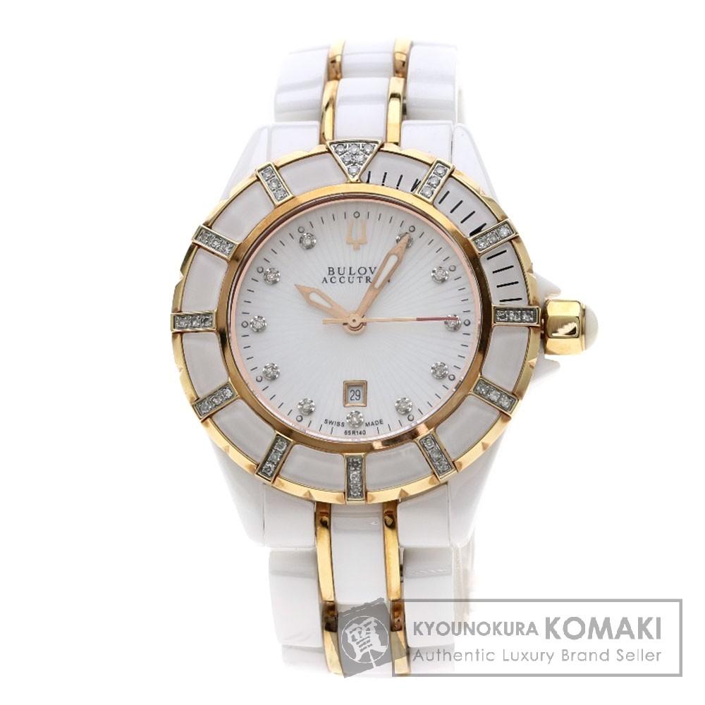 BULOVA ACCUTRON 65R140 ダイヤモンド 腕時計 GP/セラミック レディース 【中古】【ブローバ・アキュトロン】