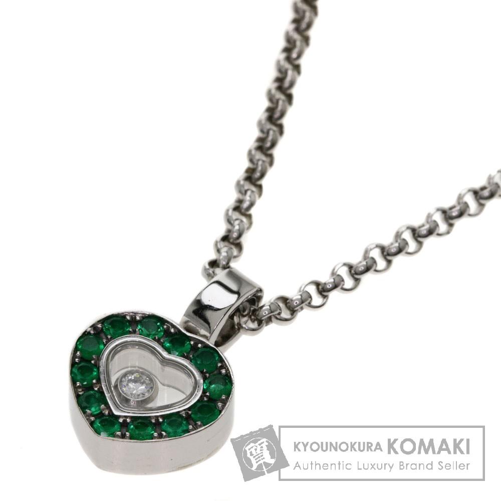 Chopard 79/2936/2-20 ハッピーダイヤモンド エメラルド ネックレス K18ホワイトゴールド レディース 【中古】【ショパール】