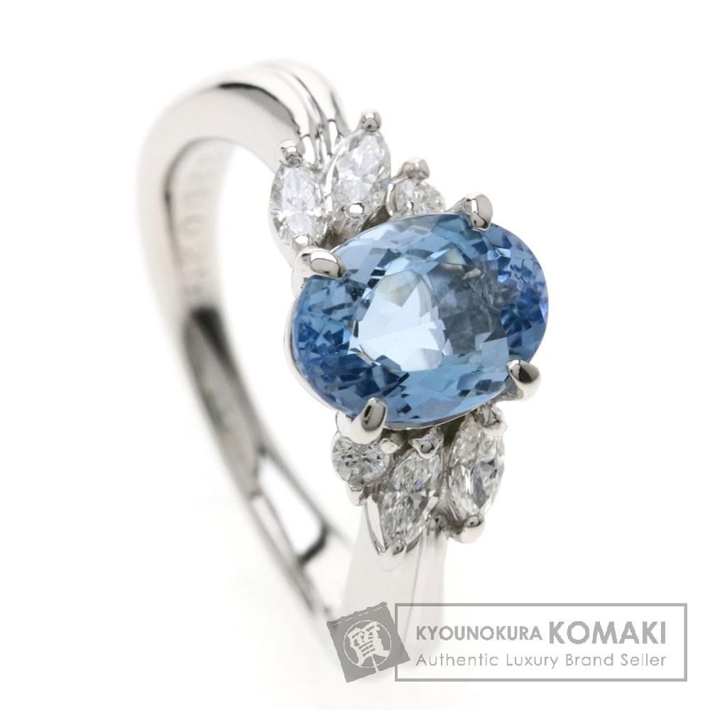 1.33ct アクアマリン/ダイヤモンド リング・指輪 プラチナPT900 6.1g レディース 【中古】