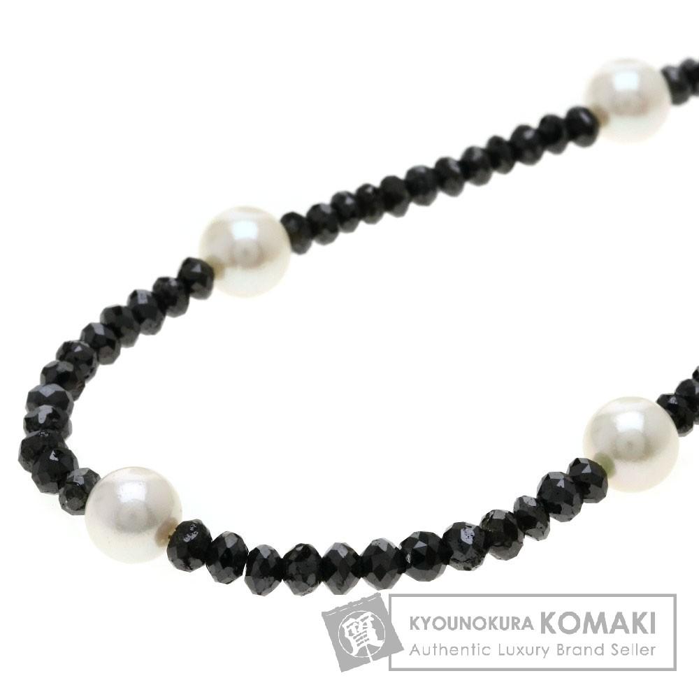 アコヤパール/真珠/ブラックダイヤモンド ネックレス K18ホワイトゴールド 15.4g レディース 【中古】