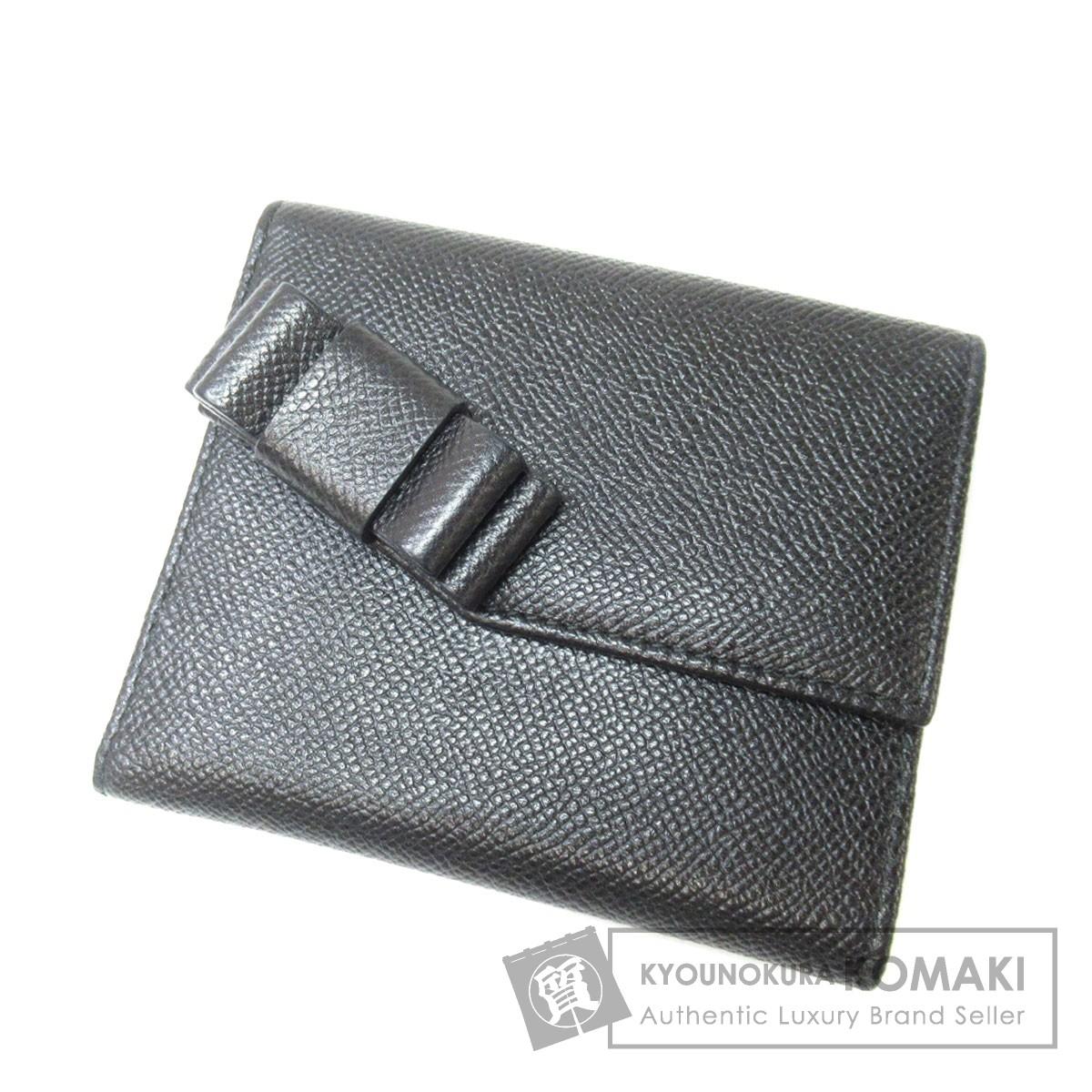 VALENTINO Wホック リボンモチーフ 二つ折り財布(小銭入れあり) レザー レディース 【中古】【バレンチノ】