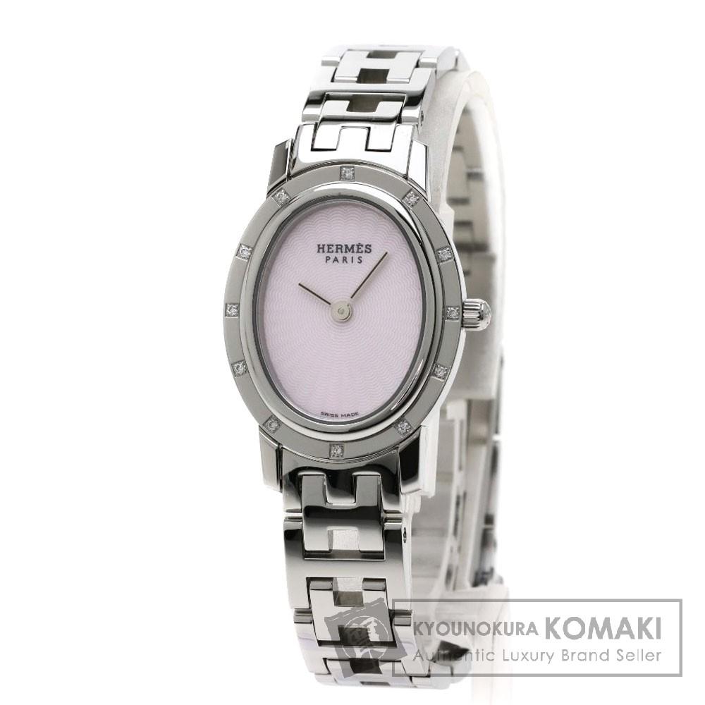 HERMES CO1.230 クリッパー オーバル ナクレ 12Pダイヤモンド 腕時計 ステンレススチール/SS レディース 【中古】【エルメス】