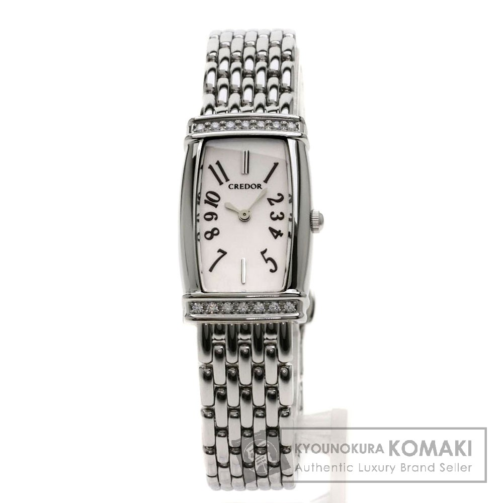 SEIKO 1E70-0AT0 クレドール 腕時計 ステンレススチール/SS/ダイヤモンド レディース 【中古】【セイコー】