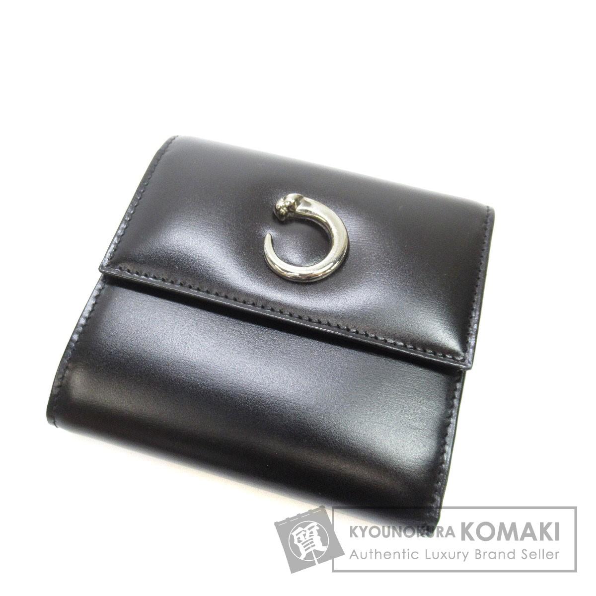 CARTIER パンサーモチーフ 二つ折り財布(小銭入れあり) レザー レディース 【中古】【カルティエ】