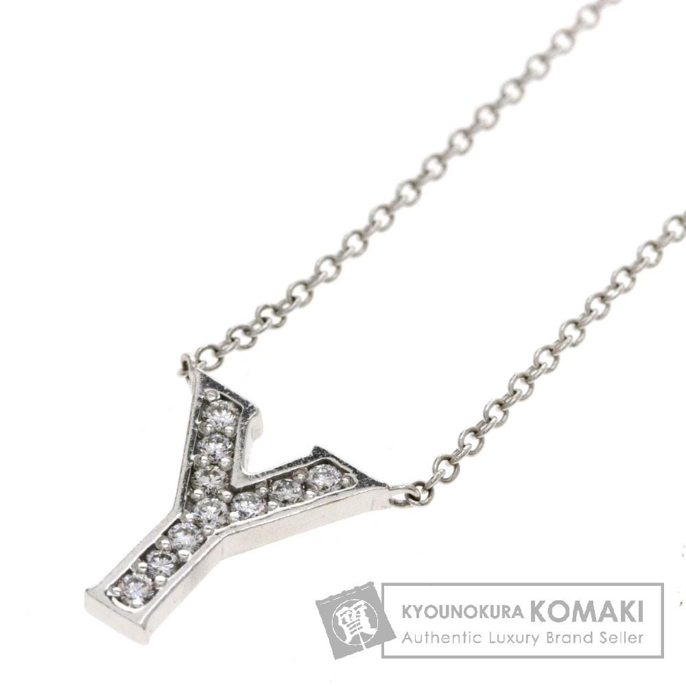 0.11ct ダイヤモンド イニシャル Y ネックレス K18ホワイトゴールド 2.3g レディース 【中古】