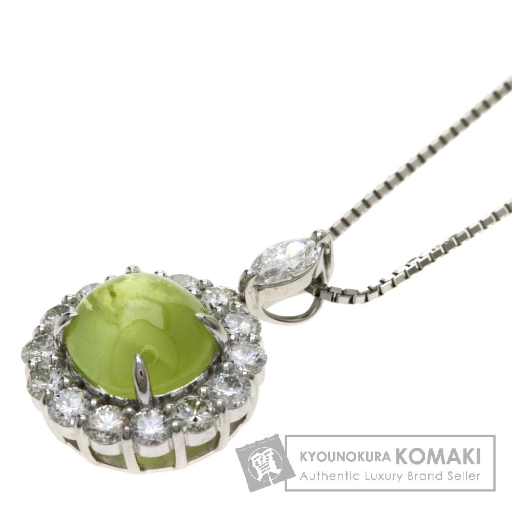 C3.316ct キャッツアイ/ダイヤモンド ネックレス プラチナPT900/PT850 6.9g レディース 【中古】