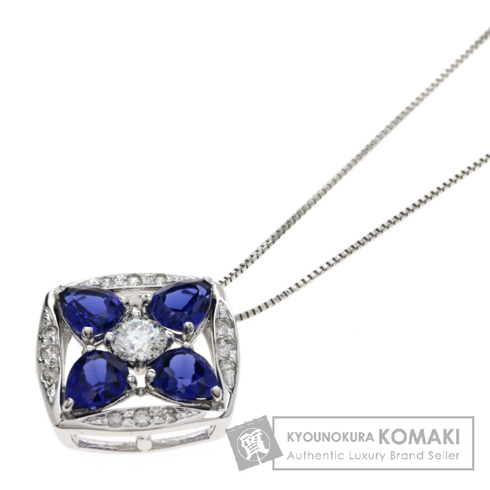 S1.48ct サファイア/ダイヤモンド ネックレス K18ホワイトゴールド 3.6g レディース 【中古】