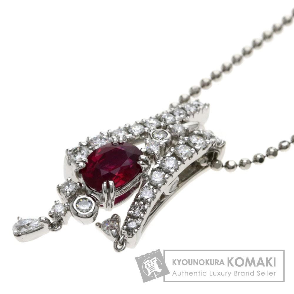 R1.58ct ルビー/ダイヤモンド ネックレス プラチナPT900/PT850 13.9g レディース 【中古】