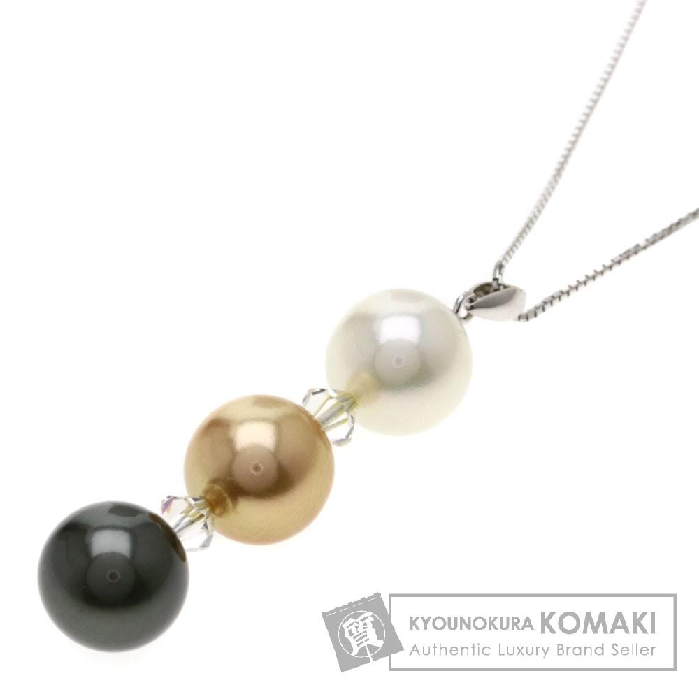 パール/真珠/クリスタル ネックレス K14ホワイトゴールド/K18WG 6.2g レディース 【中古】