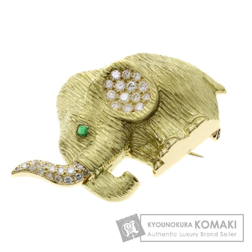 エメラルド/ダイヤモンド/象モチーフ ブローチ K18イエローゴールド 18.3g レディース 【中古】