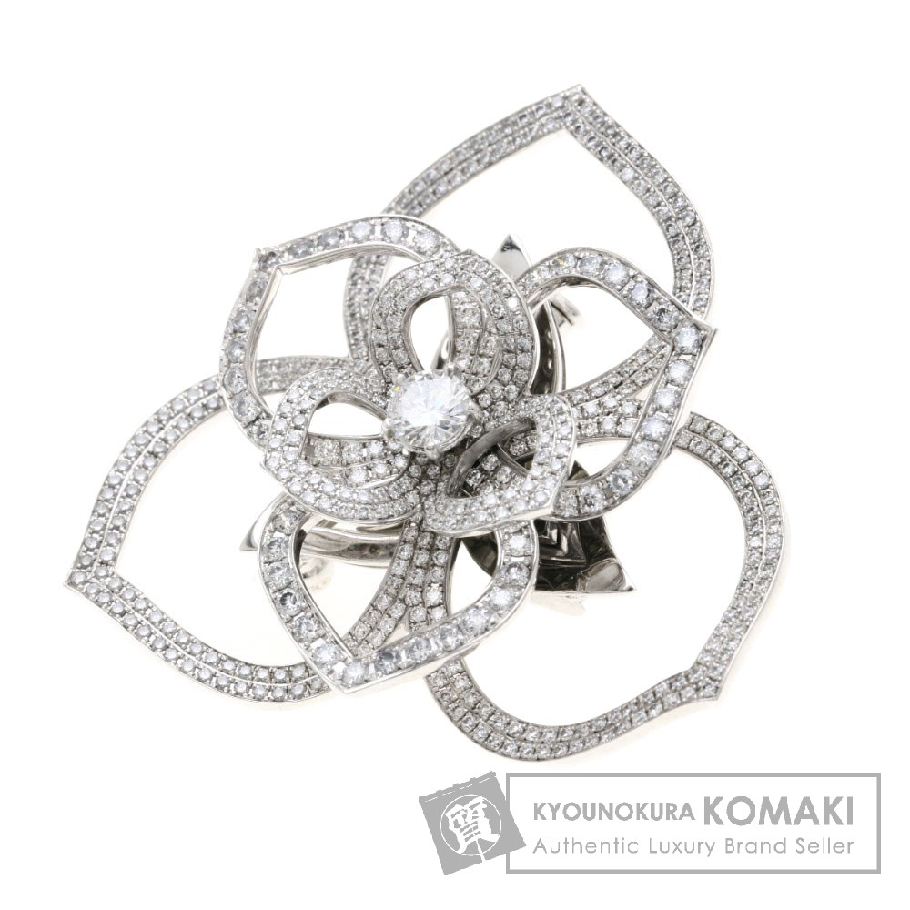 D0.309ct ダイヤモンド ブローチ K18ホワイトゴールド 15.7g レディース 【中古】
