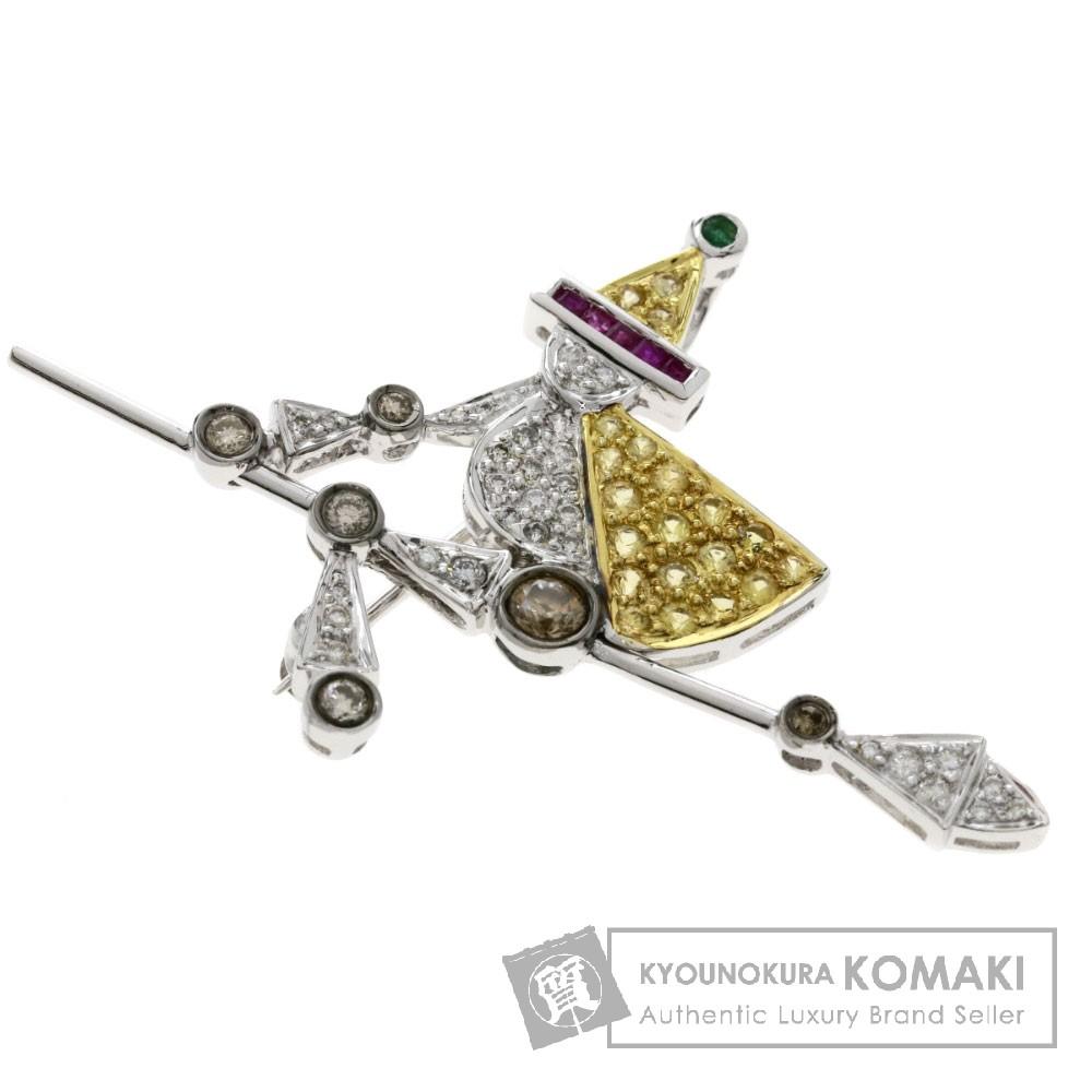 0.1ct マルチカラーストーン/ダイヤモンド/空飛ぶ魔女 ブローチ K18ホワイトゴールド 5.5g レディース 【中古】