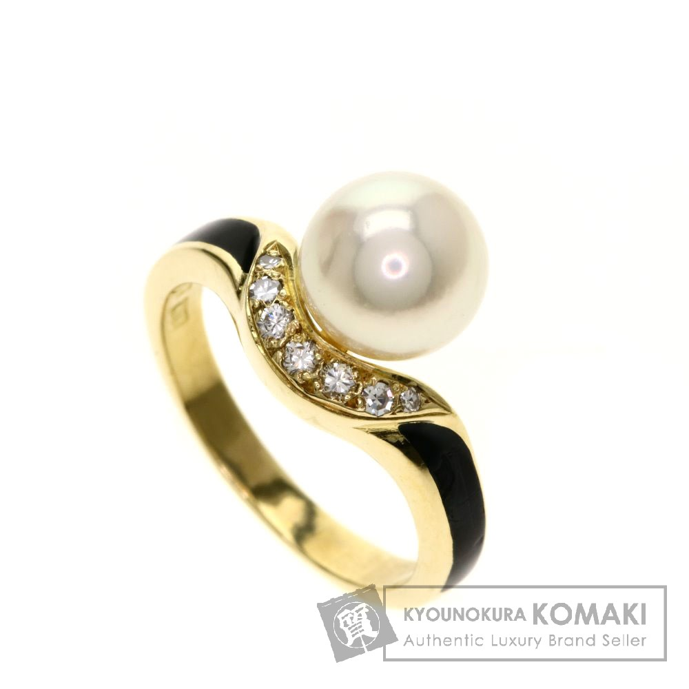MIKIMOTO パール/真珠/オニキス/ダイヤモンド リング・指輪 K18イエローゴールド レディース 【中古】【ミキモト】
