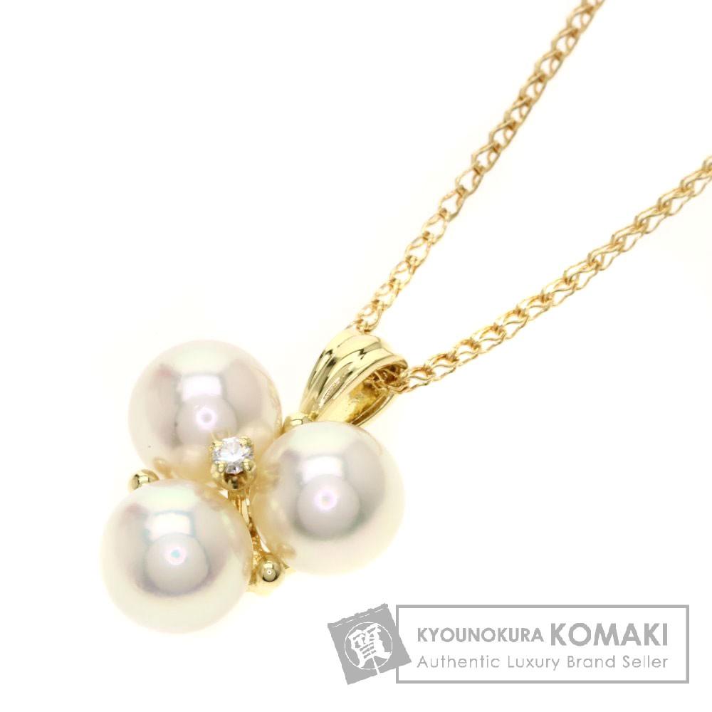 MIKIMOTO パール/真珠/ダイヤモンド ネックレス K18イエローゴールド レディース 【中古】【ミキモト】