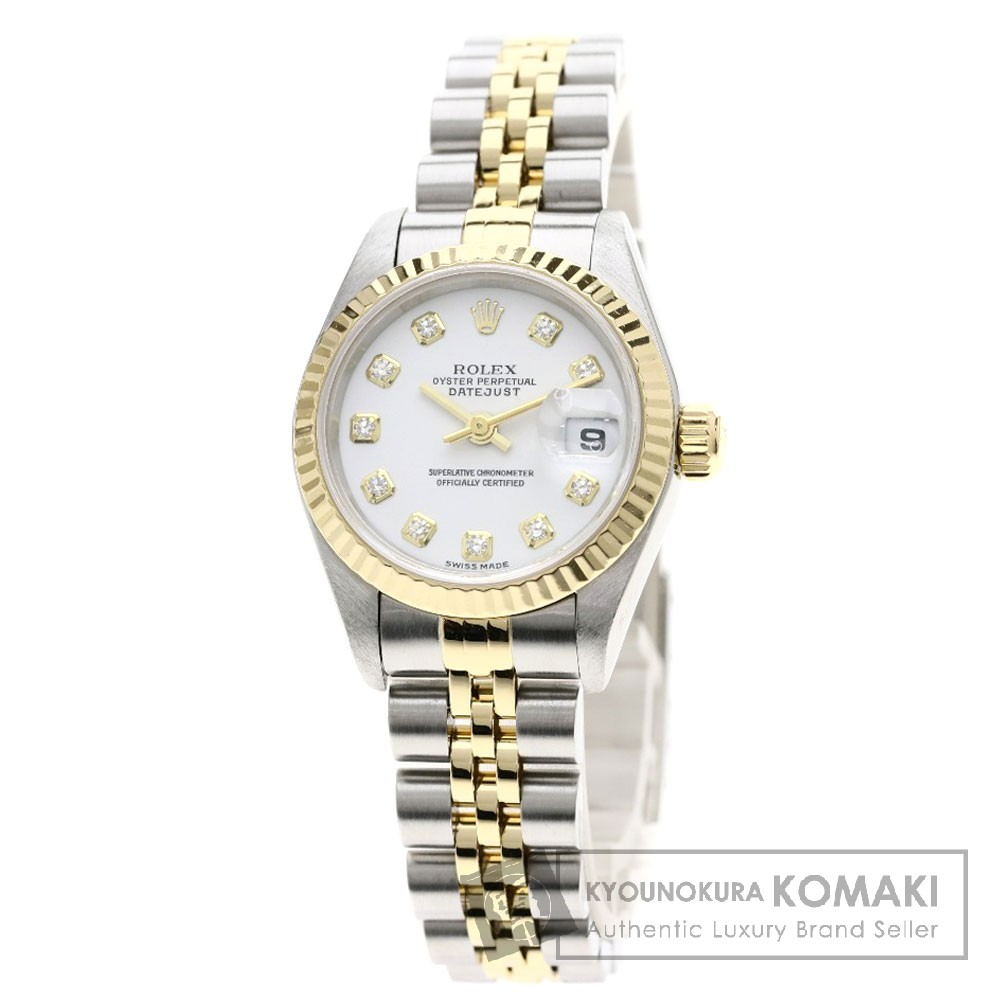ROLEX 79173G デイトジャスト 10Pダイヤモンド 腕時計 OH済 ステンレススチール/SSxK18YG レディース 【中古】【ロレックス】
