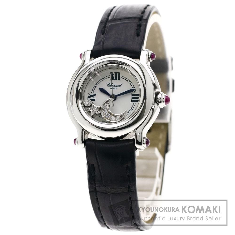 Chopard 27/8245-21 ハッピースポーツ スター/ムーン 腕時計 ステンレススチール/クロコダイル レディース 【中古】【ショパール】