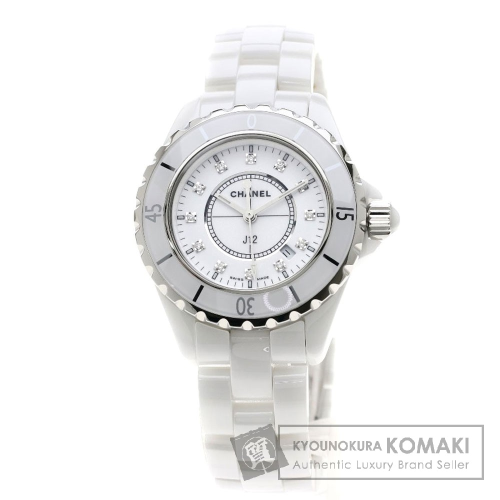 CHANEL H1628 J12 33 12Pダイヤモンド 腕時計 セラミック/セラミック レディース 【中古】【シャネル】