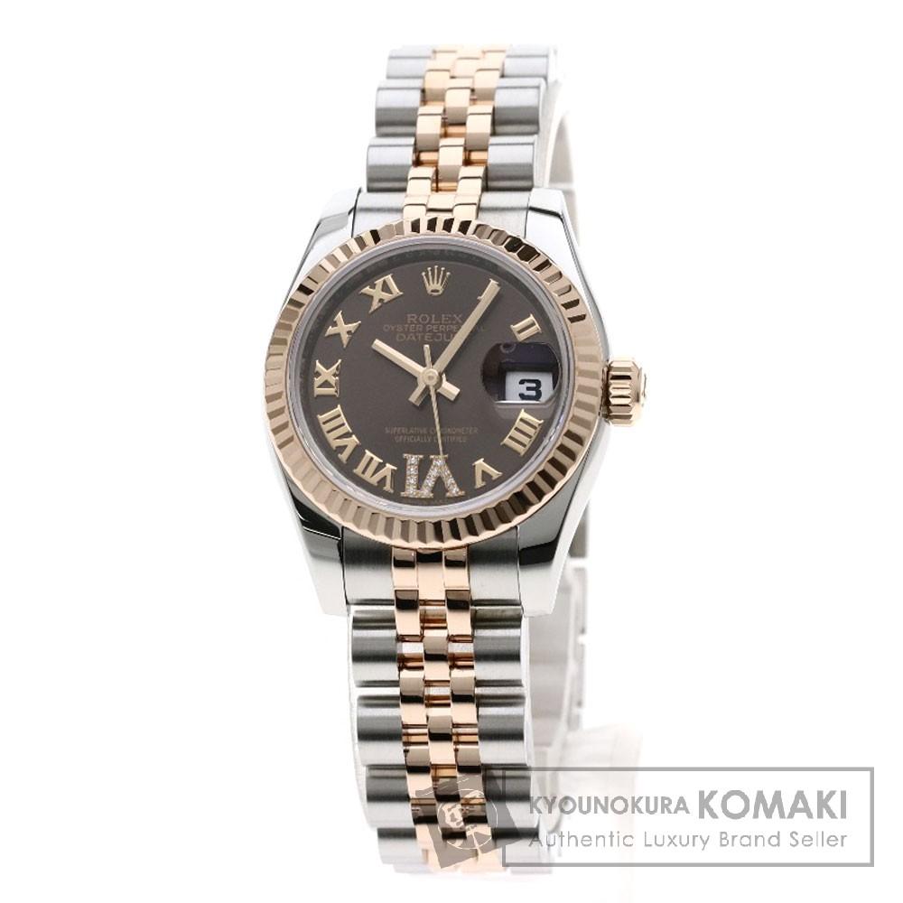 ROLEX 179171 デイトジャスト ダイヤモンド 腕時計 ステンレススチール/SSxK18PG レディース 【中古】【ロレックス】