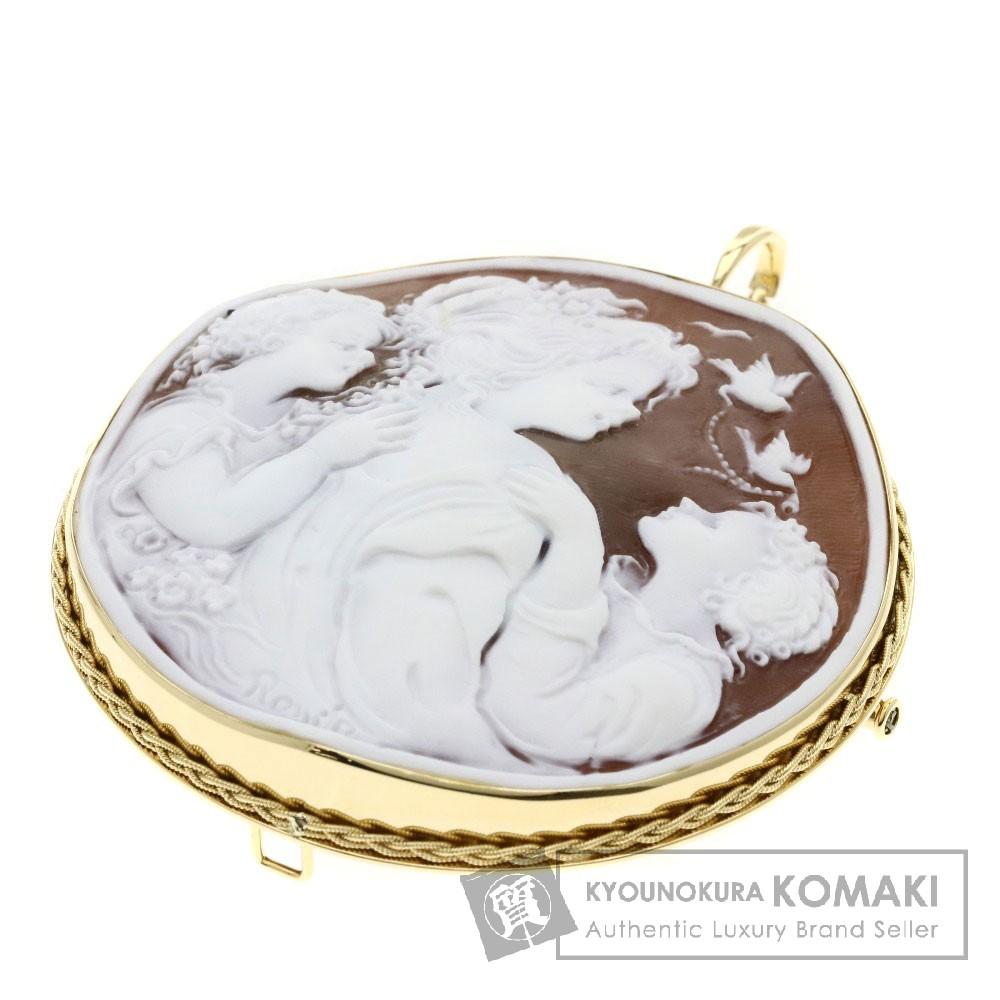 カメオ/ロマーノ/ペンダントトップ ブローチ K18イエローゴールド 37.2g レディース 【中古】