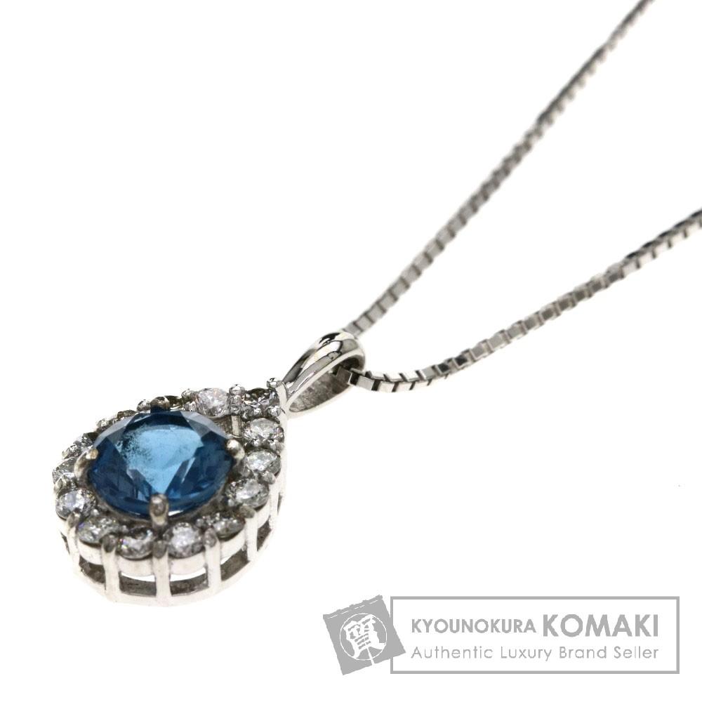 0.61ct ブルートパーズ/ダイヤモンド ネックレス K18ホワイトゴールド 3g レディース 【中古】