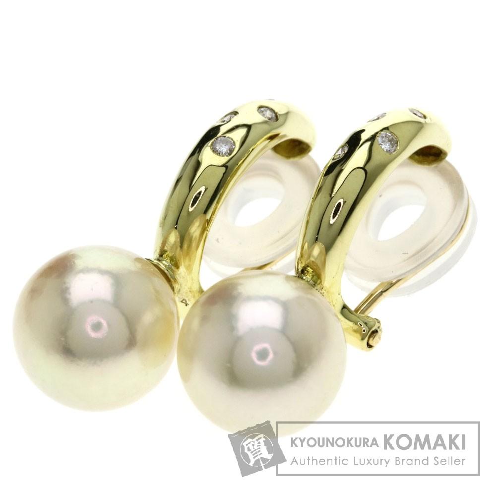 0.04ct パール/真珠/ダイヤモンド イヤリング K18イエローゴールド 5.3g レディース 【中古】