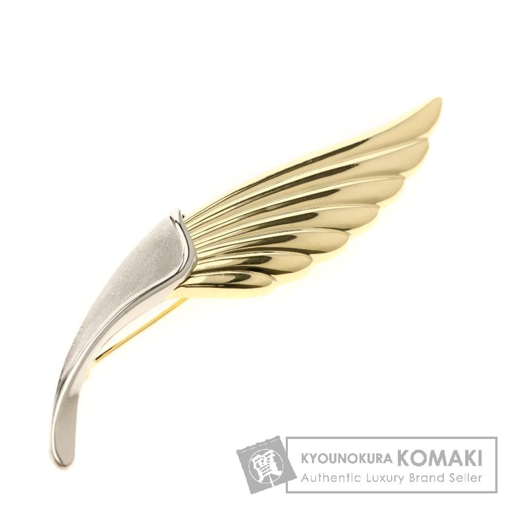 ウイングモチーフ ブローチ K18イエローゴールド/K18WG 5.9g レディース 【中古】