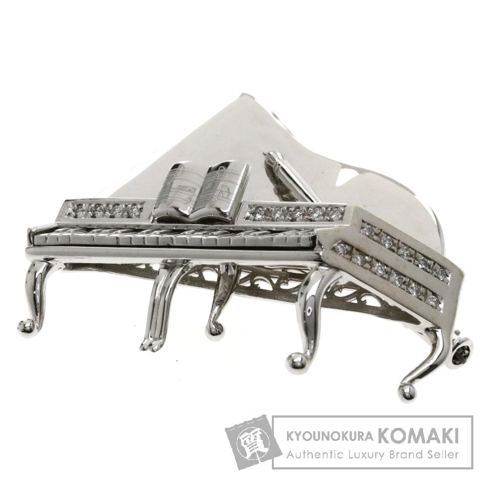 0.2ct ピアノモチーフ/ダイヤモンド ブローチ K18ホワイトゴールド 14.6g レディース 【中古】