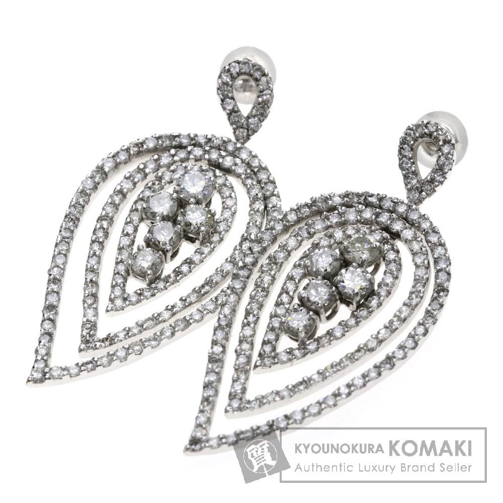 2ct ダイヤモンド/リーフモチーフ ピアス K18ホワイトゴールド 9.8g レディース 【中古】