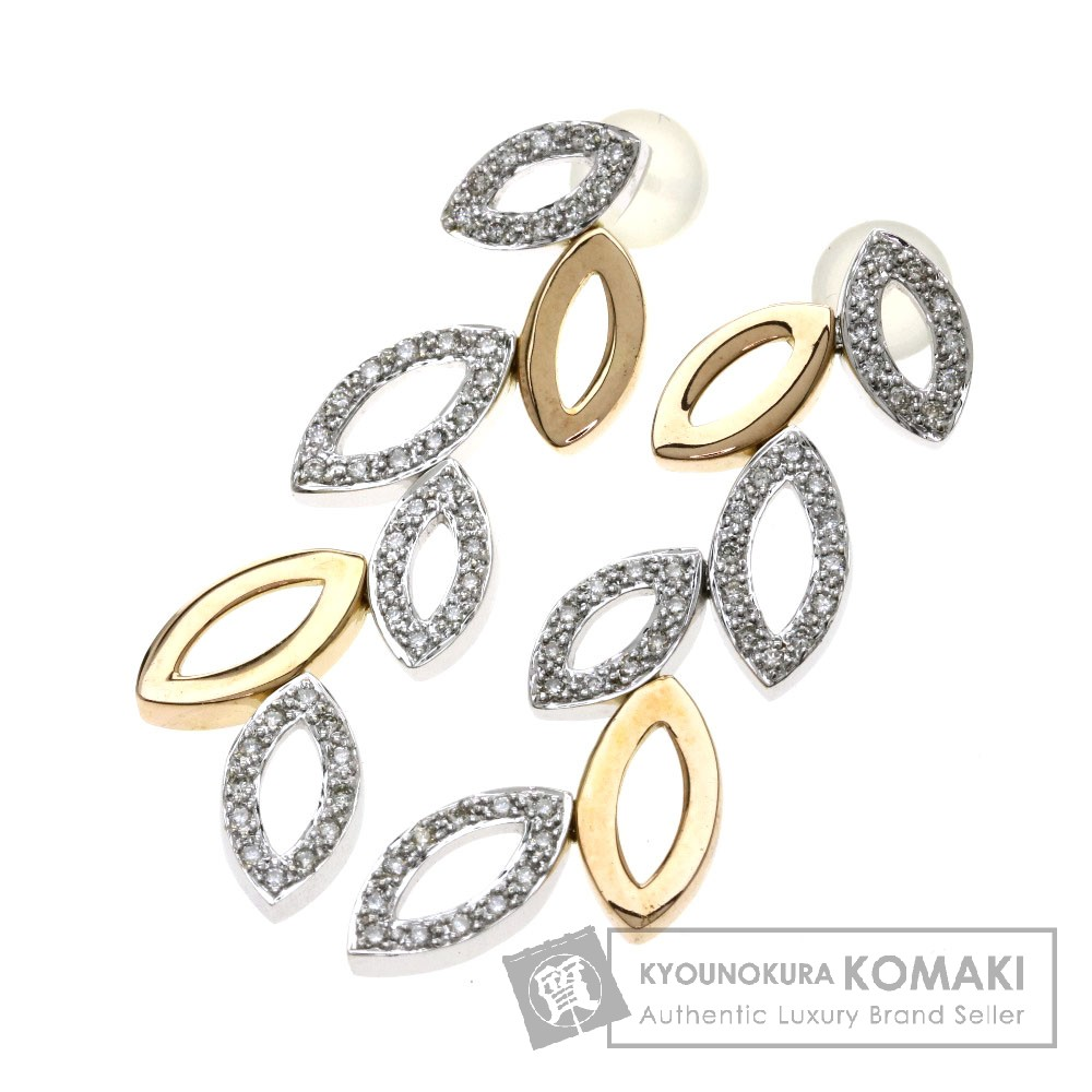 0.4ct ダイヤモンド/リーフモチーフ ピアス K18ホワイトゴールド/K18PG 7.5g レディース 【中古】