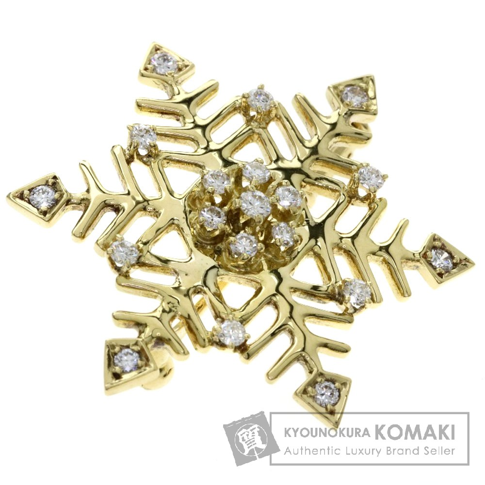 0.39ct ダイヤモンド/雪の結晶モチーフ ブローチ K18イエローゴールド 5.1g レディース 【中古】