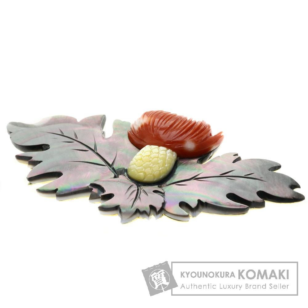 サンゴ/珊瑚/リーフモチーフ/シェル ブローチ K18イエローゴールド 27.1g レディース 【中古】