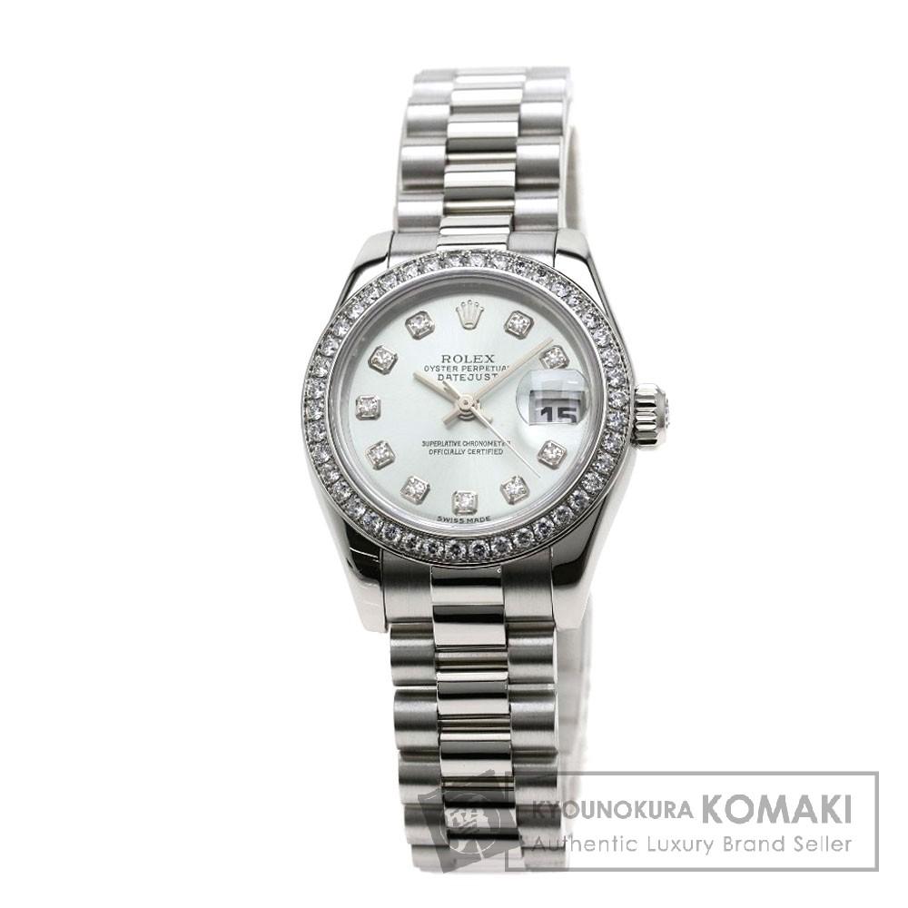 ROLEX 179136G デイトジャスト 10Pダイヤモンド 腕時計 OH済 プラチナ/プラチナ/ダイヤモンド レディース 【中古】【ロレックス】
