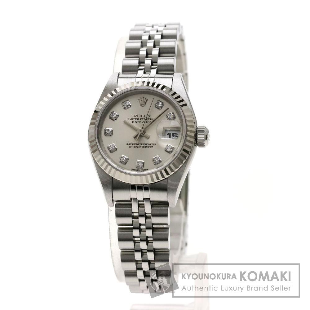 ROLEX 79174G デイトジャスト 10Pダイヤモンド 腕時計 OH済 ステンレススチール/K18WG レディース 【中古】【ロレックス】