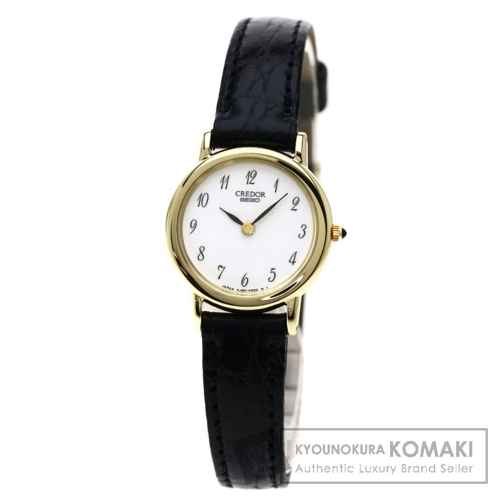 SEIKO 4J80-0010 クレドール 腕時計 K18イエローゴールド/革 レディース 【中古】【セイコー】