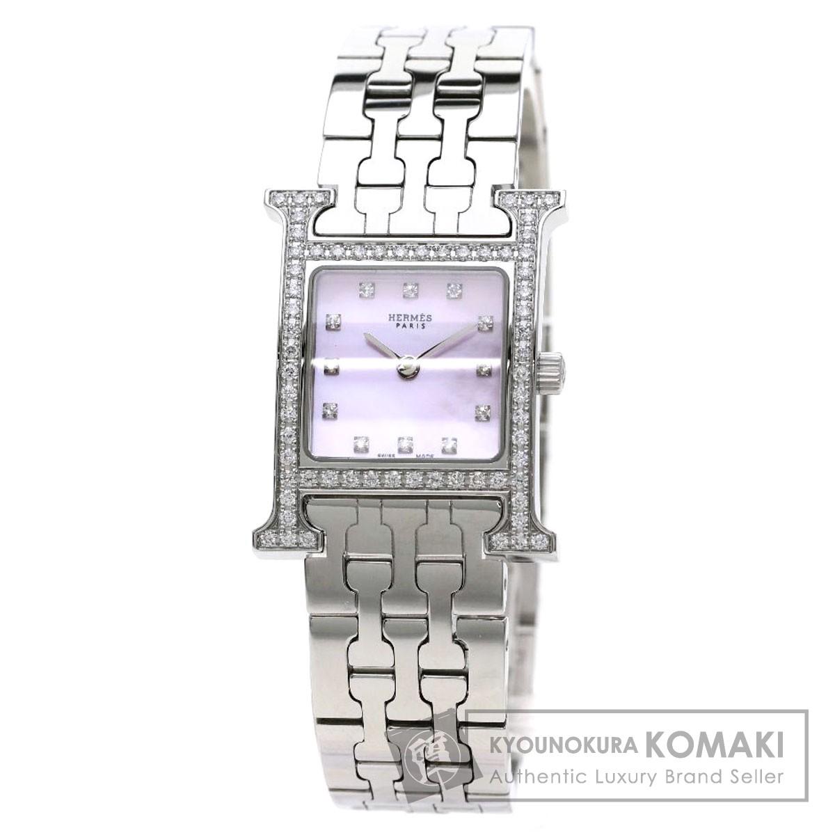 HERMES HH1.230 Hウォッチ 12Pダイヤモンド 腕時計 ステンレススチール/ダイヤモンド レディース 【中古】【エルメス】