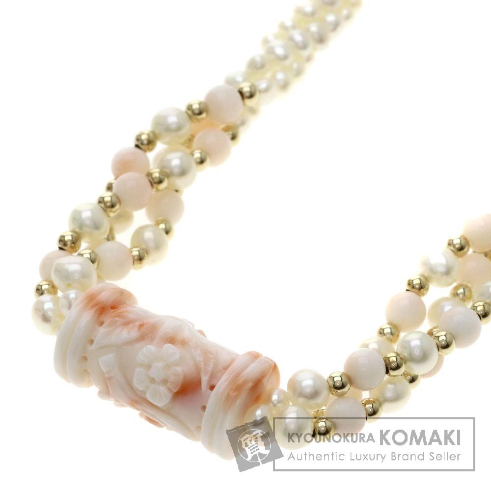 サンゴ/珊瑚/パール/真珠 ネックレス K14イエローゴールド 20.5g レディース 【中古】