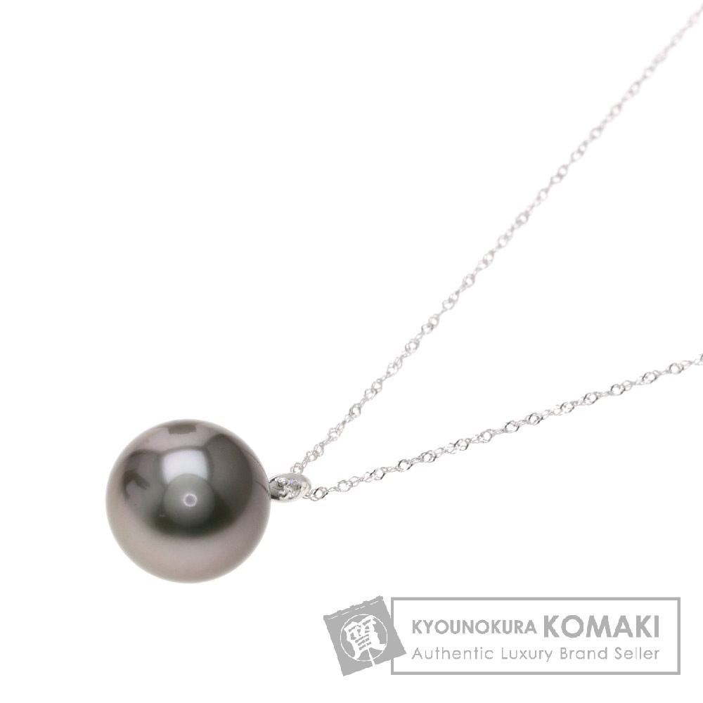 0.01ct 南洋パール/真珠/ダイヤモンド ネックレス K18ホワイトゴールド 2.7g レディース 【中古】