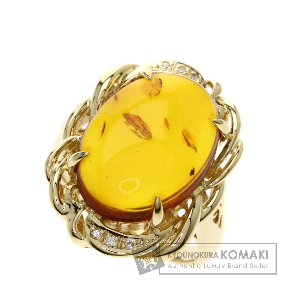 0.04ct コハク/琥珀/ダイヤモンド リング・指輪 K18ピンクゴールド 8.9g レディース 【中古】