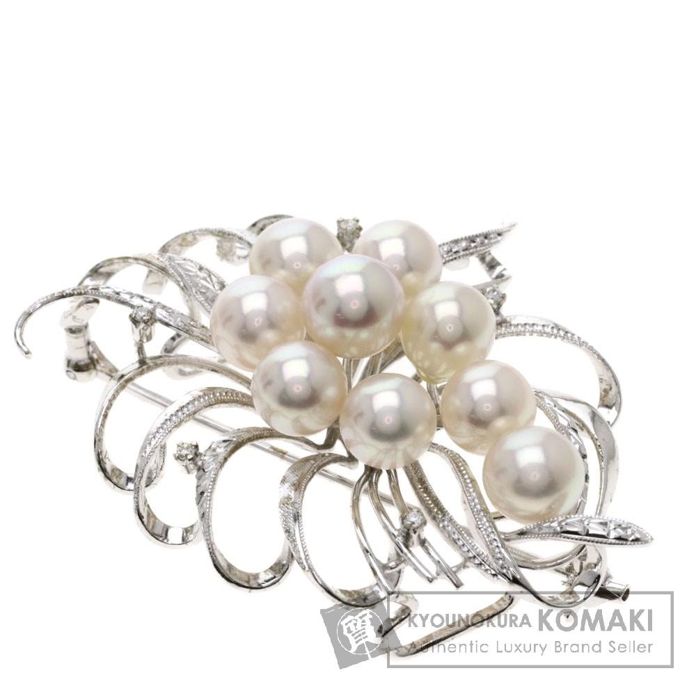 パール/真珠/ダイヤモンド ブローチ K14ホワイトゴールド 16.5g レディース 【中古】