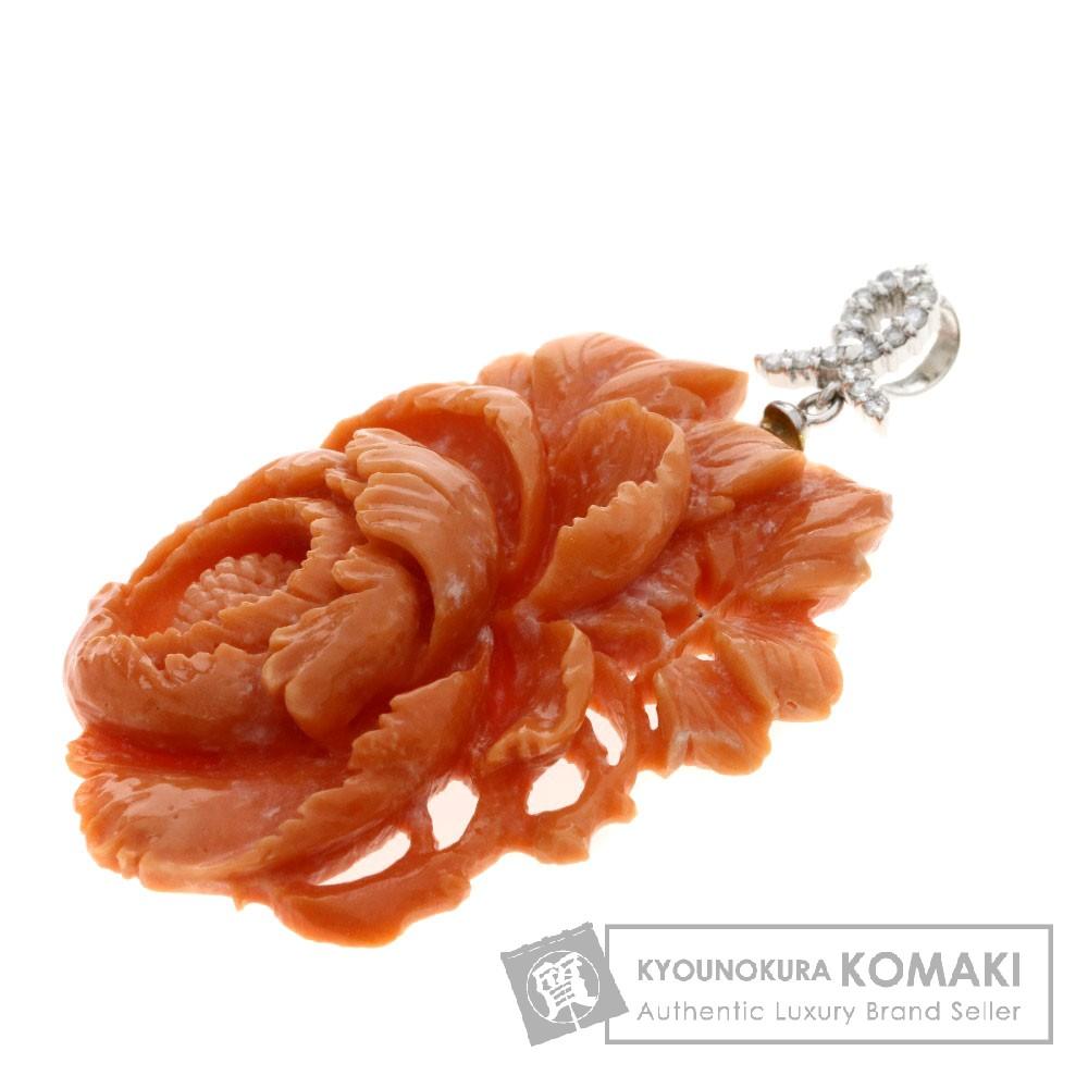 0.15ct ペンダントトップ/サンゴ/珊瑚/ダイヤモンド ペンダント プラチナPT900 12g レディース 【中古】