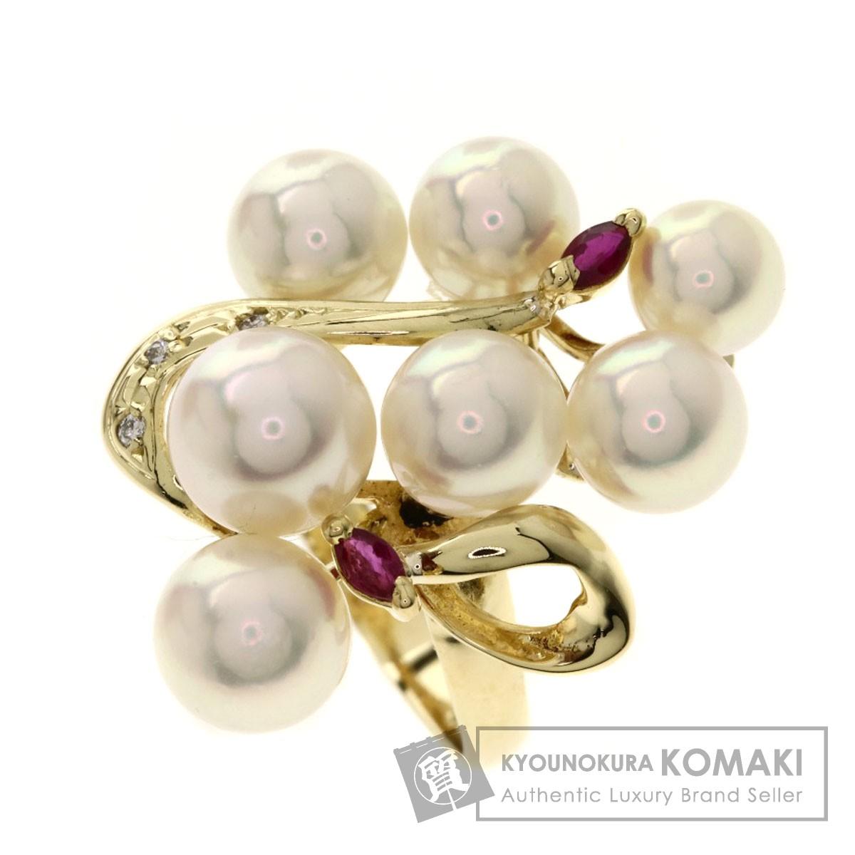 0.02ct パール/真珠/ルビー/ダイヤモンド リング・指輪 K18イエローゴールド 6.6g レディース 【中古】